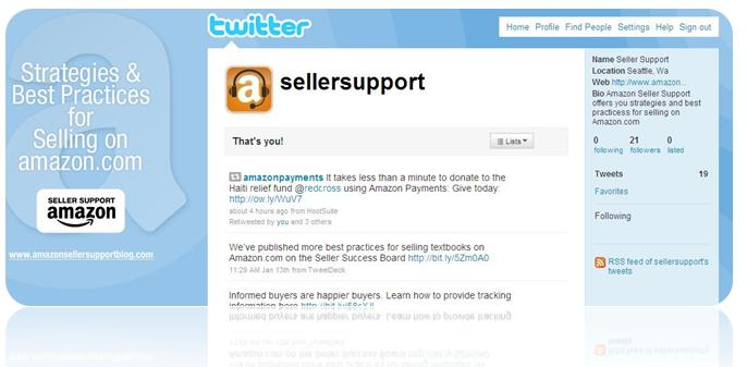 Follow Amazon Seller Support on Twitter